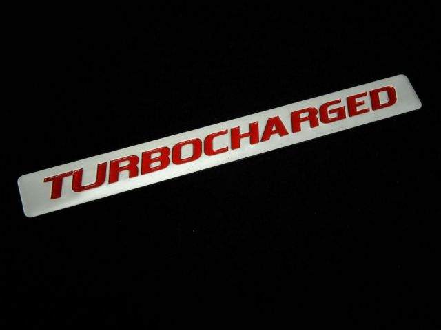 TWO Turbocharged Turbo Charged Engine Fender Hood Emblems Badge Silver Red Pair