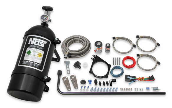 NOS Complete Wet Nitrous System for GM LS Engines with 102mm or 105mm 4-Bolt Cable Throttle Body - Black