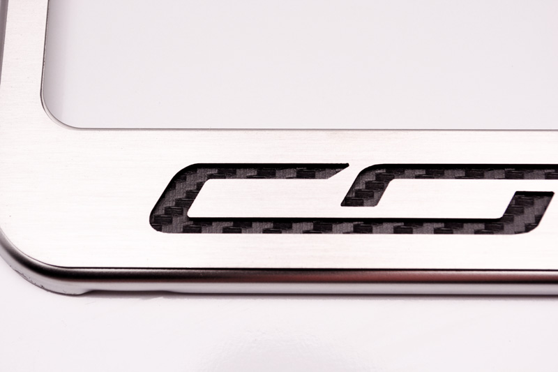 American Car Craft 052033-RD Red Carbon Fiber Rear Tag Frame Corvette Script