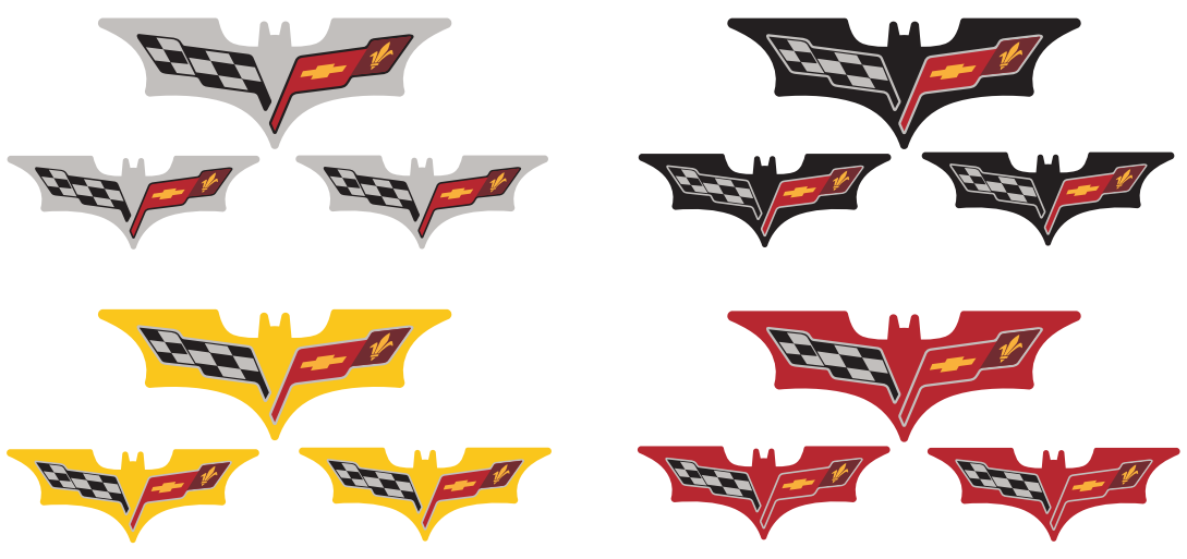 C6 Corvette Batman Inspired Colored C6 Flag Logo Decals Set