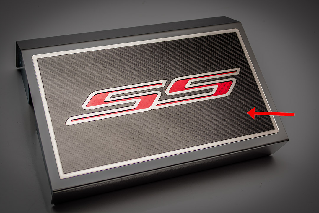 2016-2019 chevrolet camaro, fuse box cover ss top plate bright red carbon  fiber
