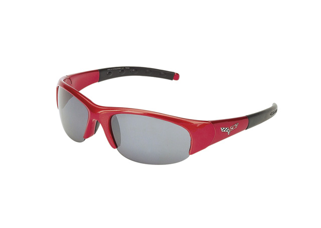 a04845ae339 Sunglasses - C6 Corvette Logo Red Frame With Smoke Flash Mirror Lens