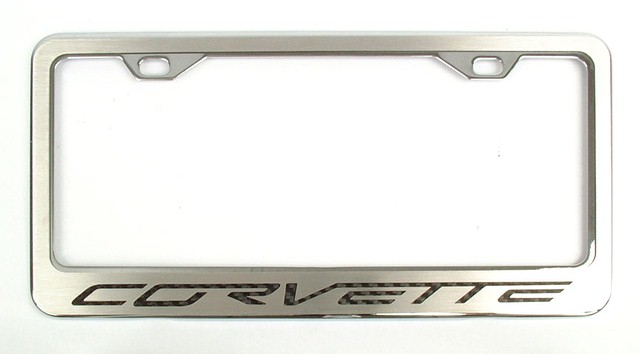C5/C6 Corvette Brushed Stainless Steel License Plate Frame w/Carbon Fiber Lettering
