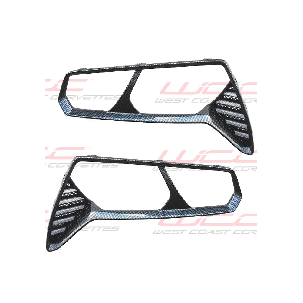 2014 C7 Corvette Stingray Hydro Carbon Fiber Taillight Bezels,  Smooth Finish, 2pc Kit