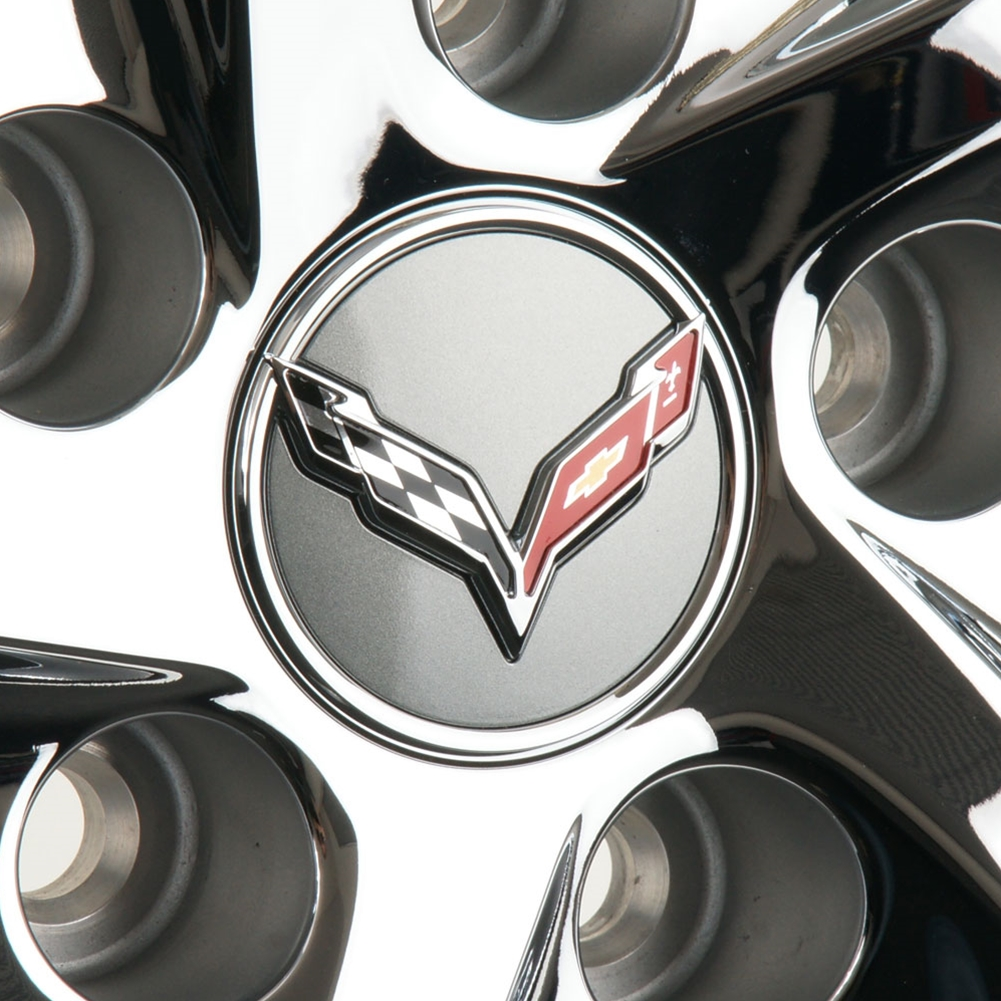 2014 C7 Corvette Stingray Center Cap w/Crossed Flags Logo, Chrome Accents