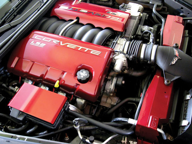 2005-2007 Corvette C6 LS2 Fuel Rail Engine Covers Black w// Red Lettering OEM GM