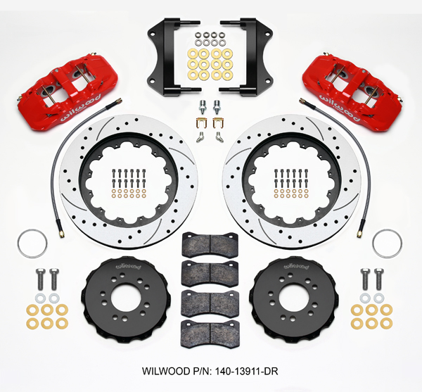 C7 Corvette Wilwood Front Performance Big Brake Package, AERO6 NICKEL Calipers, Drilled Two Piece Rotors BP-20 Brake Pad