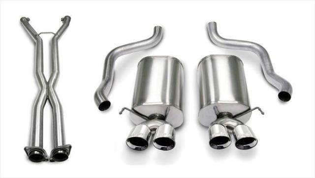 C6 Corvette Corsa Xtreme Exhaust System, Polished Four 3.5 in.Tips with 6.0/6.2L 2005-2008