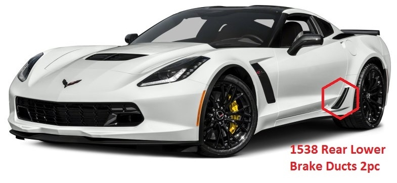 C7 Corvette Z06, Grand Sport, Custom HydroCarboned, Painted, Rear Brake Ducts Z06 Lower, Pair