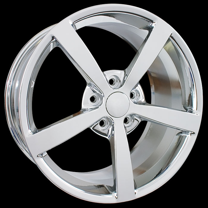 2008 Corvette Solid Spoke, Gumby Style Chrome Wheel Exchange 18x8.5/19x10