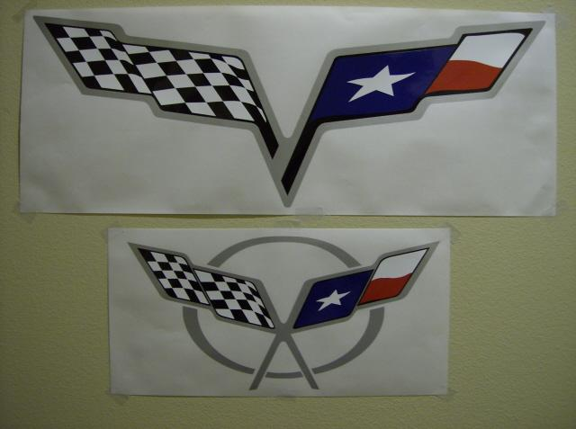 1997-13 C5 or C6 Corvette Full Color Texas Flag Hood Pad Logo Decal