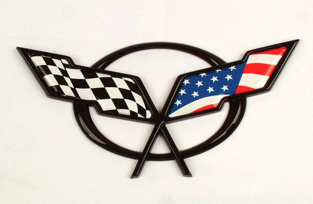 C5 Corvette Emblem American Flag Overlay Decal