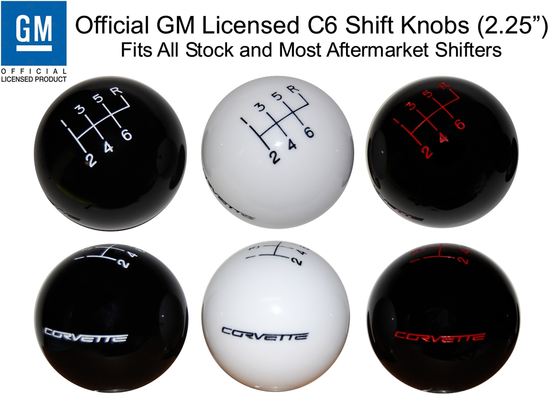 C6 Corvette 2005-2013 Black Shift Knob w// Shift Pattern//Rally Stripes Yellow