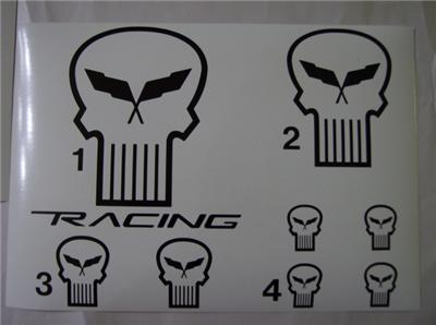 C5 Corvette Outline Punisher Style Jake Racing Mascot Logo Decal Package