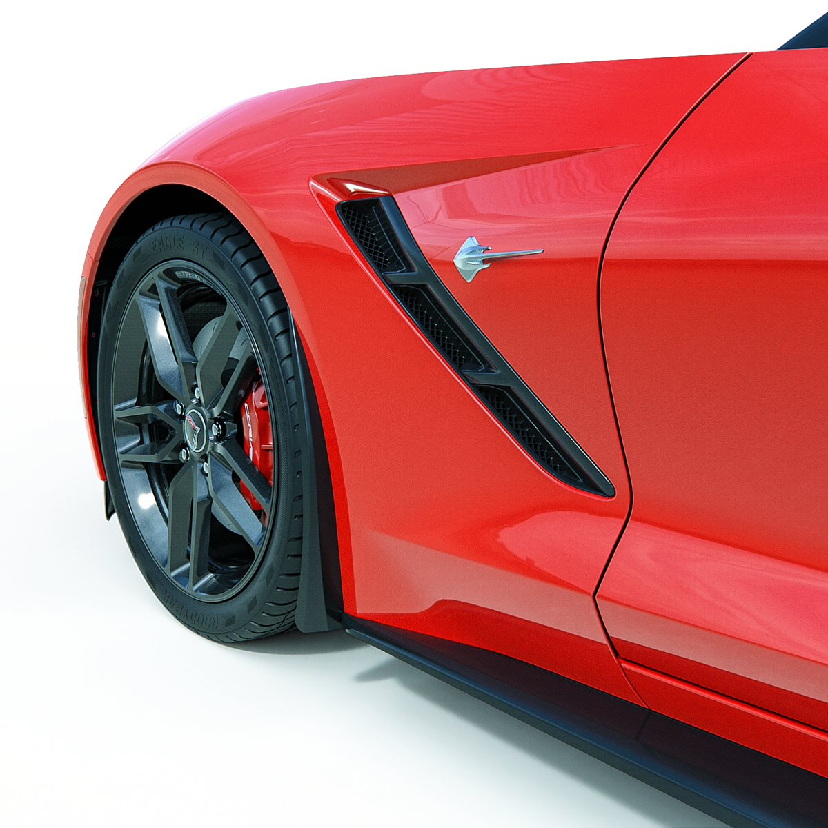 C7 Corvette ACS XL Front Wheel Rock / Splash Guards, Pair, Painted in Carbon Flash Metallatic