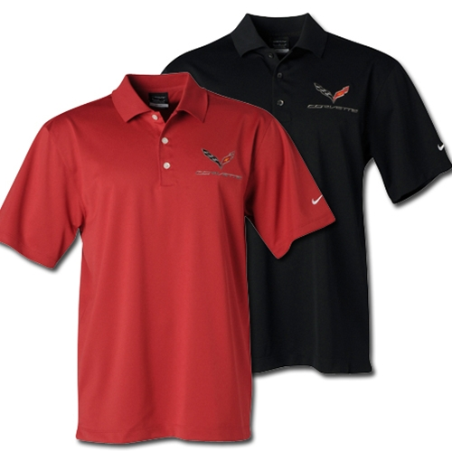 C7 Corvette Polo - Men's Nike Dri Fit Performance Polo : Black or Pro Red - 2014+