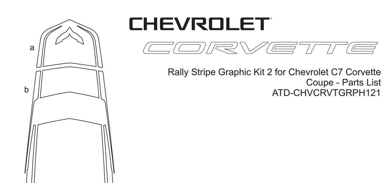 C7 Corvette Front Hood Section Rally Stripe Graphic Kit, Style 2, Single Color