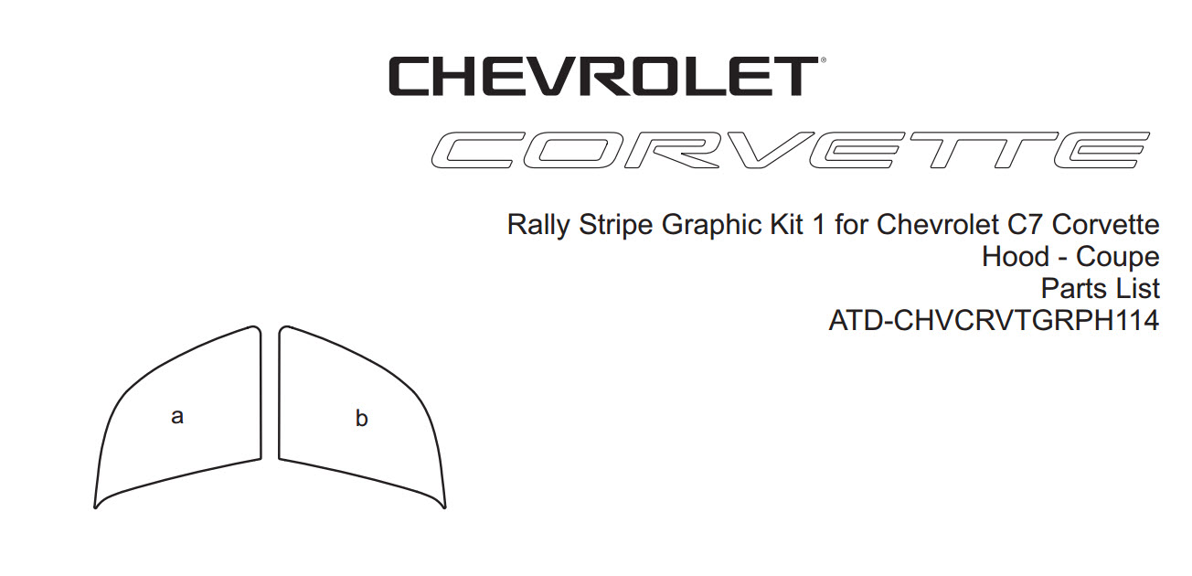 C7 Corvette Hood Front Only GM Style Rally Stripe Graphic Kit, Style 1, Single Color