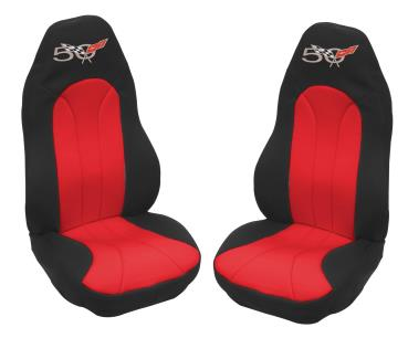 1997-2003 C5 Corvette, Neoprene Seat Covers with Embriodered 50th Anniversary Logo, Pair