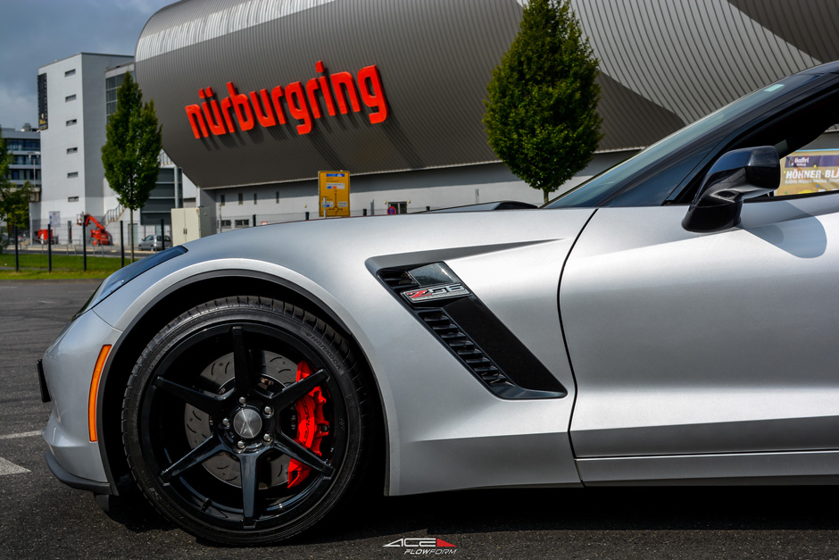 "C7 Corvette Z06 Ace Alloy AFF06 Wheel Set of 4, 2x 19"" x 10"" and 2x 20"" x 12"" Gloss Black Milled Finish"