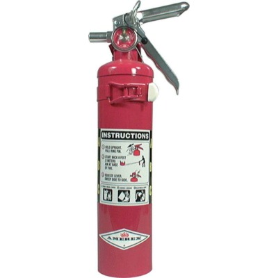 Fire Extinguisher, Dry Chemical, Class ABC, 2.5 lb, 1A 10B C Rated, Mounting Bracket, Steel, Chrome, Each