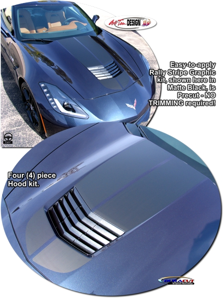 C7 Corvette Hood and Body Rally Stripe Graphic Kit, Style 1, Single Color