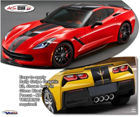 C7 Corvette Hood and Body Rally Racing Stripe Graphic Kit, Style 3, Single Color
