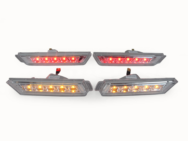 2010-2015 Chevrolet Camaro Front / Rear Crystal Smoke Side Bumper LED Side Marker Lights with Bulbs