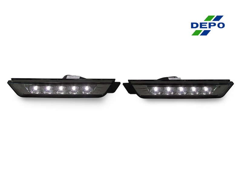 2010-2015 Chevrolet Camaro Rear only Crystal Black Side Bumper Side Marker Lights with Bulbs