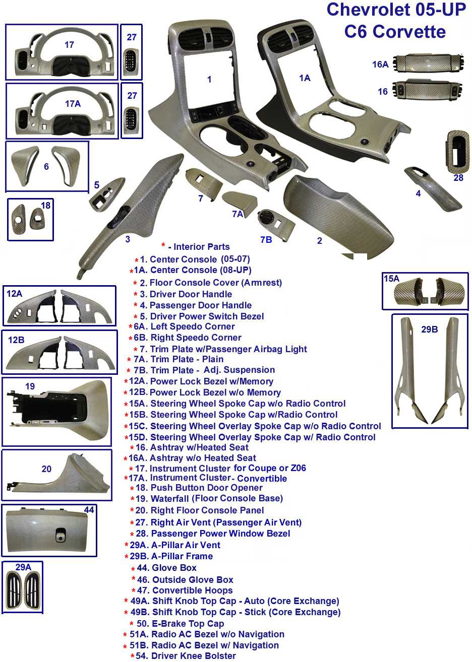 C6 Corvette Performance C4 Interior Wiring Diagram Passenger Power Window Bezel Real Carbon Fiber 2008 And Up