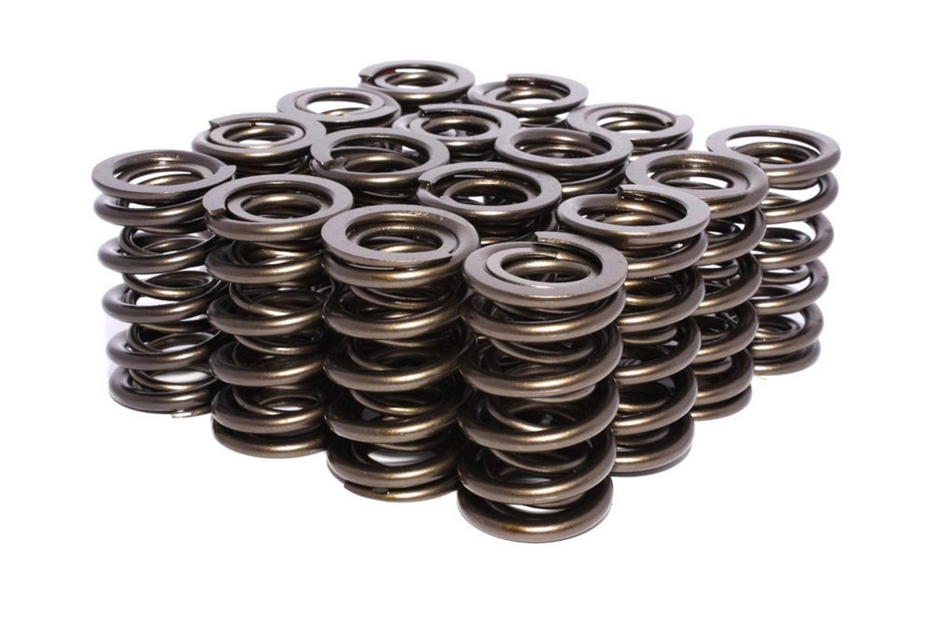 Valve Spring, Race Street, Dual Spring, 408 lb/in Spring Rate, 1.040 in Coil Bind, 1.300 in OD, Set of 16