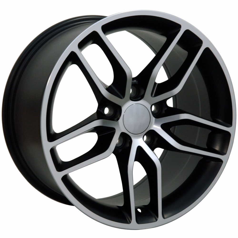 Corvette, C7 Stingray Style, 17x9.5 Wheel for 1988-2004 C4/C5 and Camaro 93-2002 Fitment, Machined BLACK