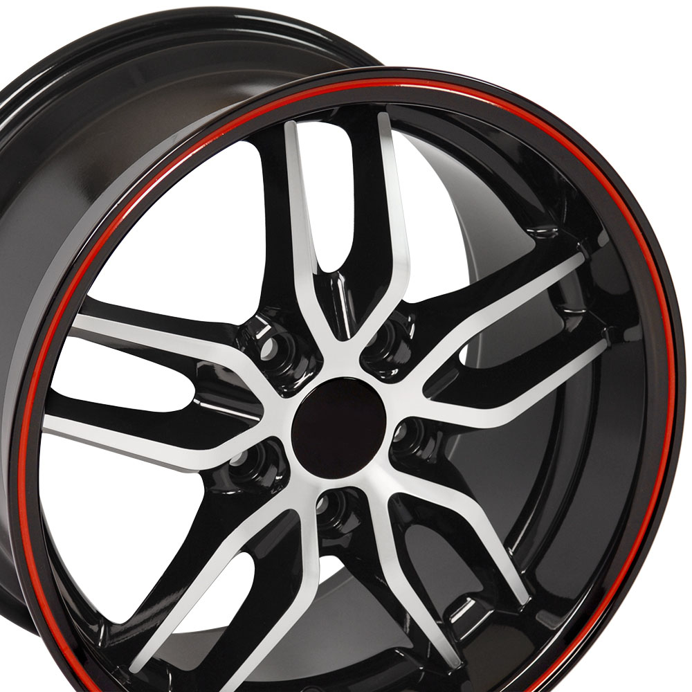 Corvette, C7 Stingray Style, 17x9.5 Deep Dish Wheel for 1988-1996 C4 and Camaro 93-2002 Fitment, MACHINED