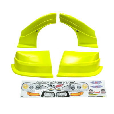 Dirt Track C6 Corvette New Style Race Car Body, Molded Plastic Nose, Fenders and Graphics, Yellow