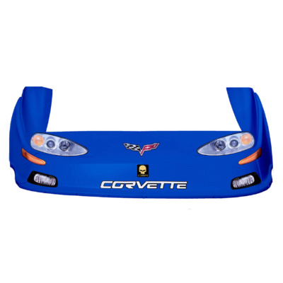 Dirt Track C6 Corvette OLD Style Race Car Body, Molded Plastic Nose, Fenders and Graphics, Blue