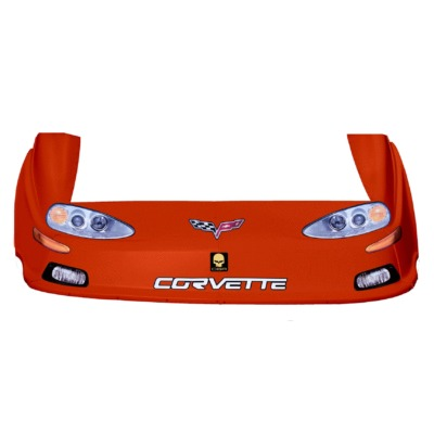 Dirt Track C6 Corvette OLD Style Race Car Body, Molded Plastic Nose, Fenders and Graphics, Orange