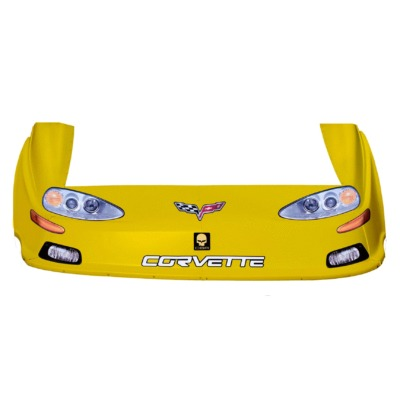 Dirt Track C6 Corvette Style Race Car Body, Molded Plastic Nose, Fenders and Graphics, Yellow