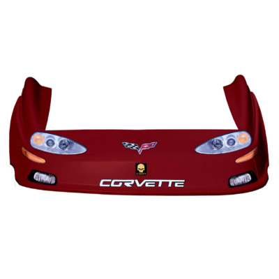 Dirt Track C6 Corvette OLD Style Race Car Body, Molded Plastic Nose, Fenders and Graphics, Red
