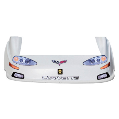 Dirt Track C6 Corvette OLD Style Race Car Body, Molded Plastic Nose, Fenders and Graphics, White