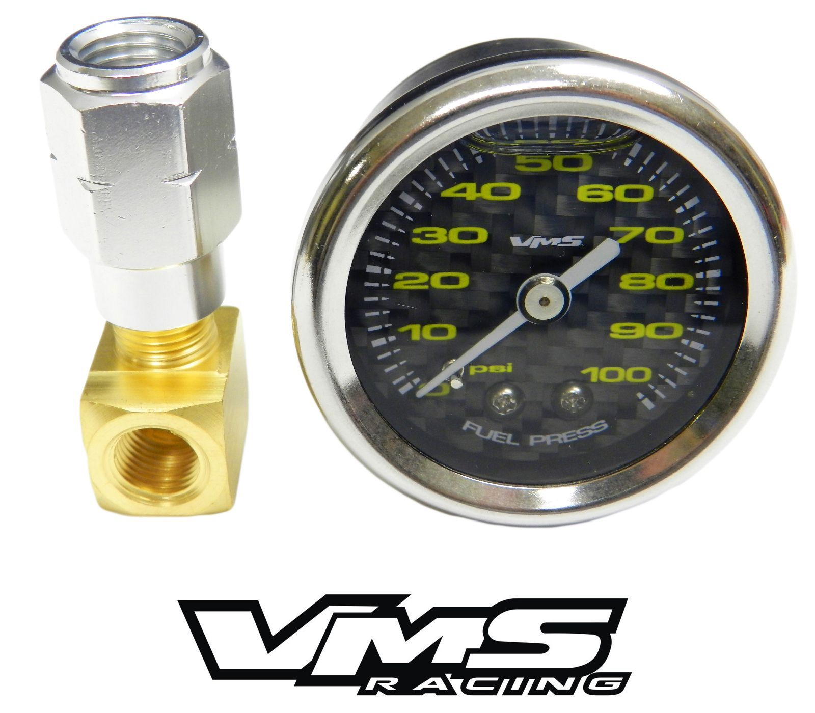 "VMS Camaro Corvette 1 1/2"" 100 psi Black Carbon w/Yellow Face Fuel Pressure Gauge Liquid Filled Adpater and Gauge"