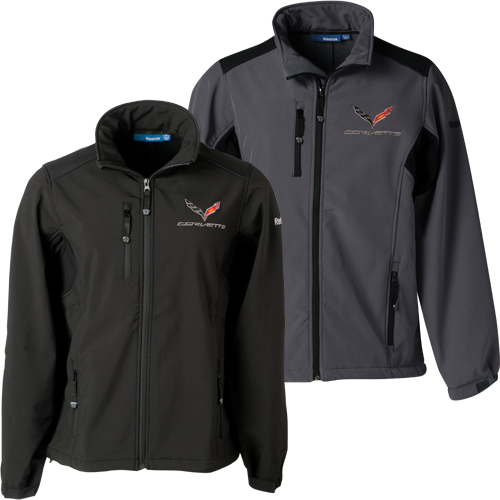 C7 Corvette Mens C7 Flag Logo Reebok Soft Shell Full Zip Jacket
