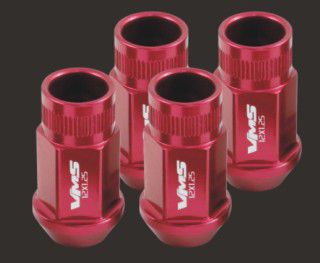 VMS Racing Lug Nut Set, Open Thread, Anodized Red 20 Pieces 12X1.5MM, Corvette and Others