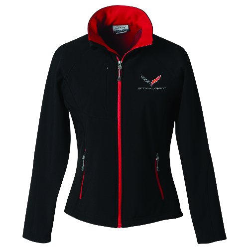 C7 Corvette Ladies Stingray Soft Shell Jacket with C7 Flags on Front