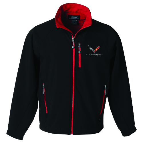 C7 Stingray Corvette Mens C7 Stingray Logo Matrix Soft Shell Jacket