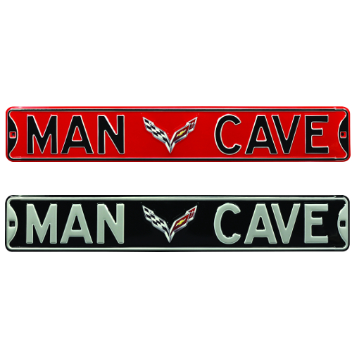 "C7 Corvette ""MAN CAVE"" Metal Street, Garage Wall Sign"