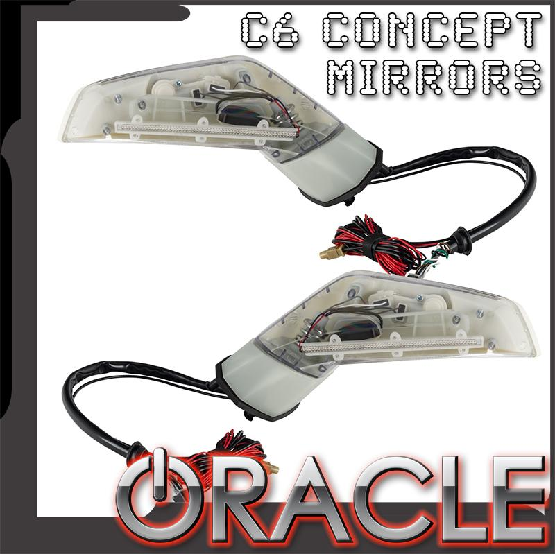 ORACLE C6 Corvette 97-13 Concept Side Mirrors, Pair, LED Lighted, C7 Style with Sirius/XM Satellite Antenna