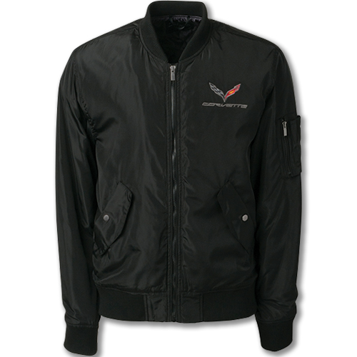 C7 Corvette Wingover Bomber Jacket, Embroidered C7 Corvette Flag Emblem