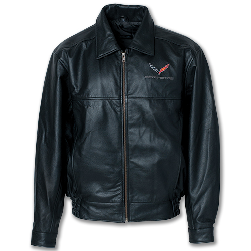 C7 Corvette Textured Lamb Skin Leather Jacket, Embroidered C7 Corvette Flag Emblem