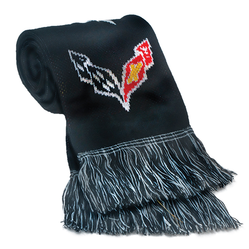 C7 Corvette Scarf with Corvette C7 Flag Logos, Stay Warm in Corvette style
