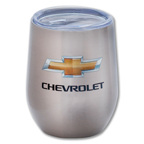Chevrolet Bowtie Logo 11 Oz. BLANC SERIES EMBOSSED Travel Thermal Stainless Steel Mug